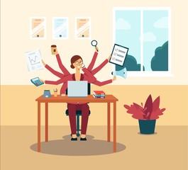 Multitasking business woman or manager with several hands flat vector illustration.