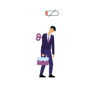Sleepy businessman with low battery sign and antique clock winding key in back