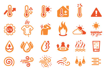 Hot temperature reaction icon. heat weather element.