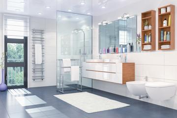 3d Illustration - Modernes Badezimmer in weiß mit Dusche, WC, Bidet, zwei Waschbecken und einem großen Spiegel