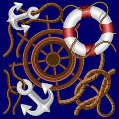 Nautical Marine and Navigation Elements Vector Background