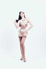 Burlesque artist, showgirl, isolated on white background
