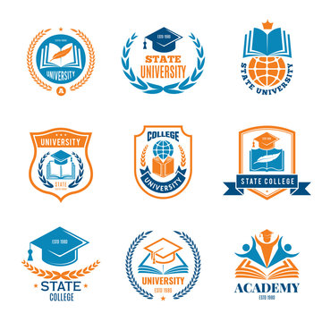 University badges. School business identity quality emblem college vector logo. Illustration of college and university emblem, badge with shield