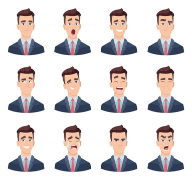Businessman emotions. Male characters with various face emotions sadness joy hate laughter anger smile fear vector pictures. Illustration of emotion sad and joy face, cheerful and angry