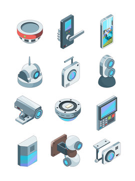 Security cameras. Smart wireless alarm home secure cctv device surveillance vector isometric pictures isolated. Smart system and security camera for monitorin house illustration