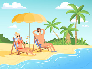Summer characters. Male and female person have a rest on the beach cartoon seaside background summer vacation vector. Illustration of girl and boy on seaside, summertime tropical