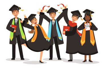 Graduation of happy international students vector illustration. Graduation young student girl and boy, education university or college