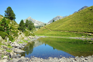 Beautiful mountain landscape in Neouvielle national nature reserve, Lac de Bastan,French Pyrenees.