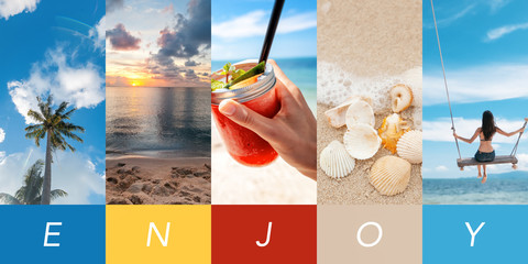Concept tropical paradise, collage template for any design