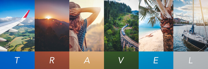 Travel concept background. Summer concept.  Header format with copyspace, vertical stories Wall mural