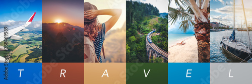 Wall mural Travel concept background. Summer concept.  Header format with copyspace, vertical stories