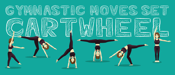 Gymnastic Moves Set Cartwheel Manga Cartoon Vector Illustration