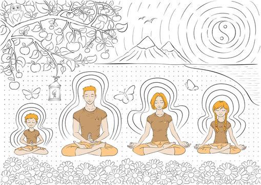 Vector illustration of family practise yoga