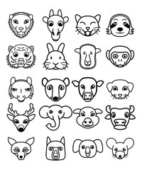 Vector set of cute kawaii cartoon animals.