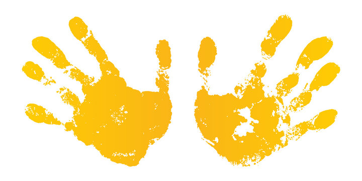 Hand paint print set, isolated white background. Yellow human palm, fingers. Abstract art design, symbol identity people. Silhouette child, kid, people handprint. Grunge texture. Vector illustration