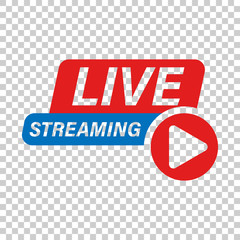 Fototapeta Live video icon in transparent style. Streaming tv vector illustration on isolated background. Broadcast business concept. obraz