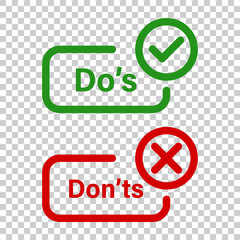 Do's and don'ts sign icon in transparent style. Like, unlike vector illustration on isolated background. Yes, no business concept.