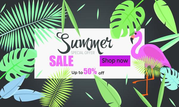Summer banner sale 60% 70% 80% off big summer sale for online shop. Black banner with leaves and flamingo, header.