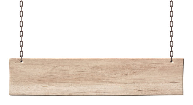 Oblong wooden board made of light wood hanging on chains