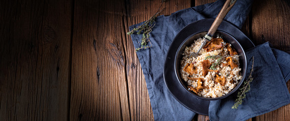 Kaszotto- polish risotto from barley groats with mushrooms Wall mural