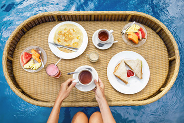 Floating breakfast in the swimming pool