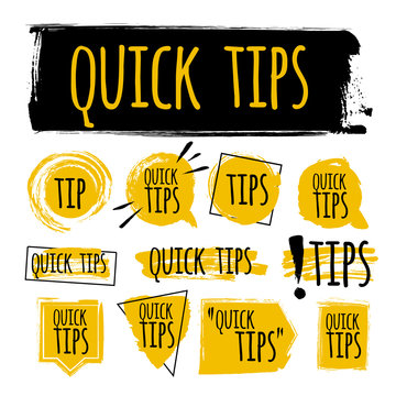 Set of quick tips badge, helpful tricks logo, label, sticker, emblem and banner isolated on white. Grunge style. Template for a blog, social media, web