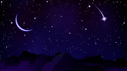 comet on the background of night mountains
