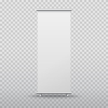 Roll up banner stand isolated on transparent background. Vector blank display mockup for presentation or exhibition product template.
