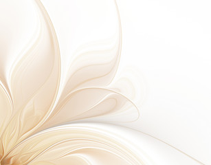 Spoed Fotobehang Fractal waves Abstract white background with petals of fractal flower