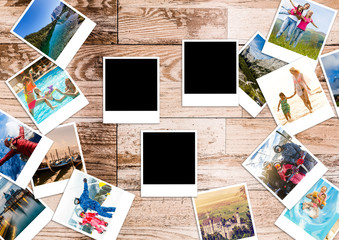 Stack of instant photographs isolated on white background with clipping path for the inside of blank one