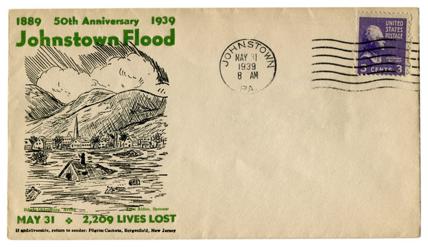 Johnstown, Pennsylvania, The USA  - 31 MAY 1939: US historical envelope: cover with cachet 50th anniversary 1889-1939 Johnstown Flood,  purple postage stamp three cents, Thomas Jefferson