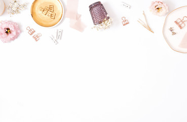 Workplace - background image, flatlay, feminine stlye