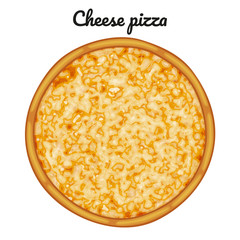 Cheese pizza. Object for packaging, advertisements, menu. Isolated on white. Vector illustration. Cartoon.