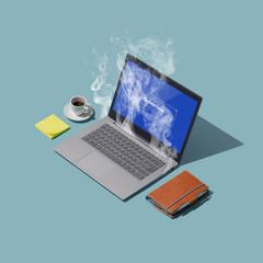 Obraz System failure and overheating computer on a desktop - fototapety do salonu