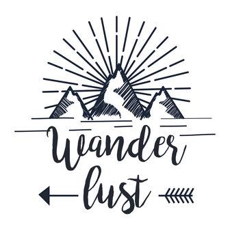 snowy mountain with arrow to wanderlust adventure