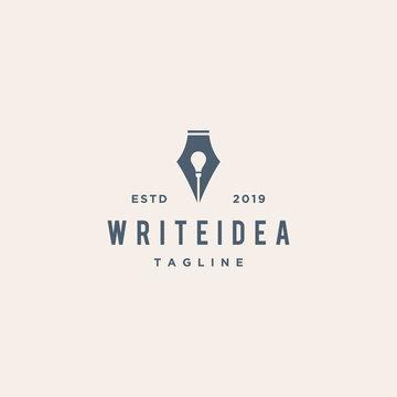 writer idea concept vector logo design