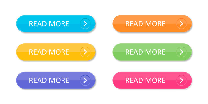 Set of colorful buttons with icons isolated on white background for websites and applications in flat style.