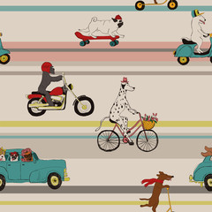 Funny Dogs Driving Vehicles Seamless Pattern.