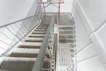 Foto op Plexiglas Trappen Interior construction of housing project. Room is under renovation or under construction.