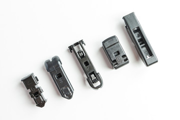 Frameless wiper blade with adapters on isolated white background