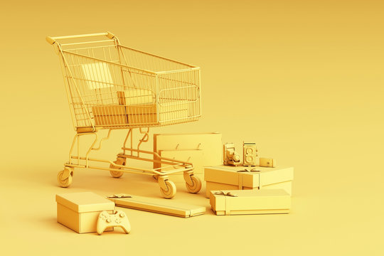 Supermarket shopping cart surrounding by giftbox on yellow background. 3d rendering