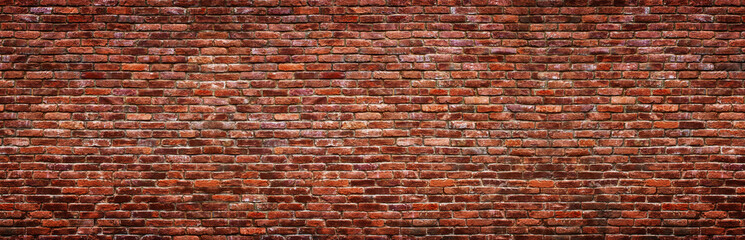 Deurstickers Wand Antique brick wall, panoramic view. Grunge stone texture.