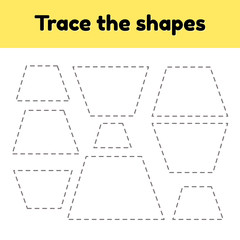 Educational tracing worksheet for kids kindergarten, preschool and school age. Trace the geometric shape. Dashed lines. Trapezoid.