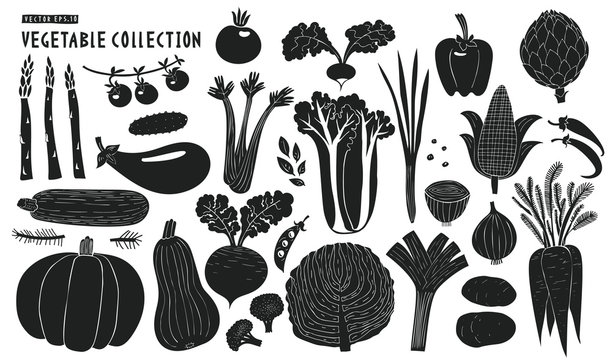 Scandinavian hand drawn vegetables. Monochrome graphic. Fruits background. Linocut style. Healthy food. Vector illustration