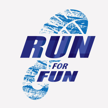 Run symbol in grunge style, sneakers print marathon icon, poster and logo template