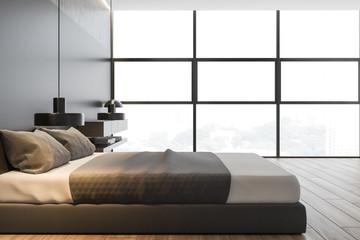 Panoramic gray master bedroom interior