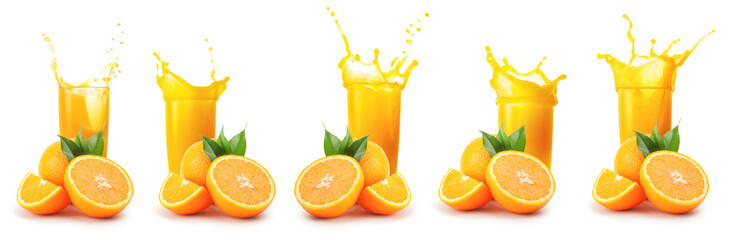 Deurstickers Sap Oranges and glass of orange juice with splash