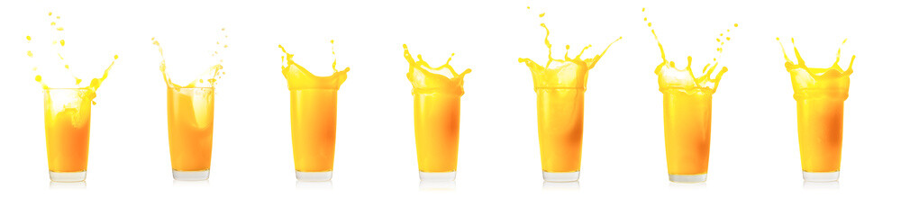 Splash collection in glass of orange juice