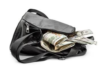 Full backpack of money on white background.