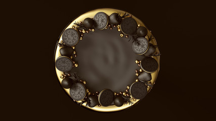 Big Black and Gold Luxury Cake with Strawberries and Round Biscuits 3d illustration 3d render